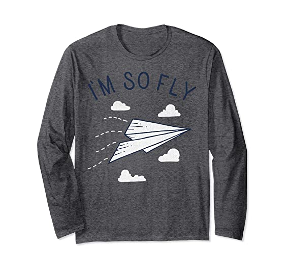 3e14be4e9 Unisex I'm So Fly Paper Airplane Cute Pun Graphic Long Sleeve Tee Small Dark