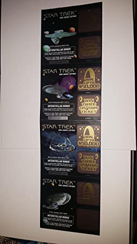 4 unused New Jersey Lottery tickets for STAR TREK at