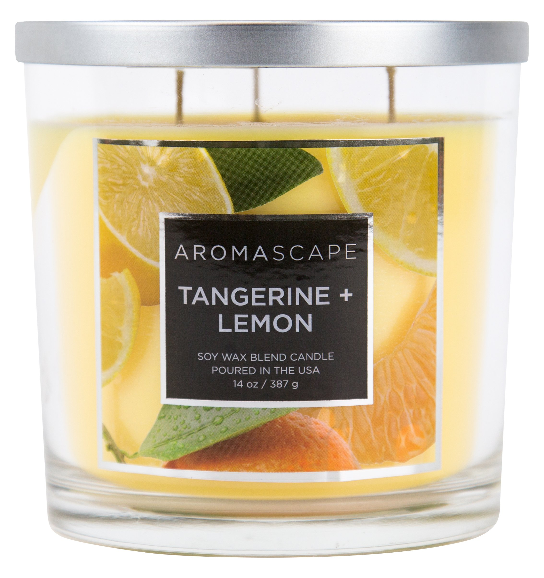 Aromascape 3-Wick Scented Jar Candle, Tangerine & Lemon