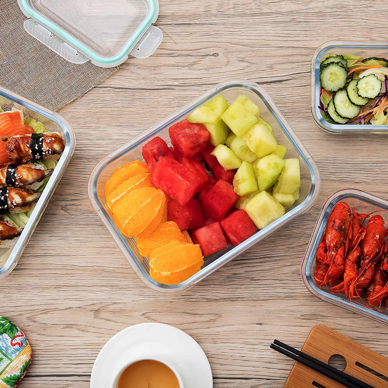 Luftdicht TONIORE Frischhaltedosen mit Deckel 4er Set aus Glas BPA frei Borosilikatglas Sp/ülmaschinenfest