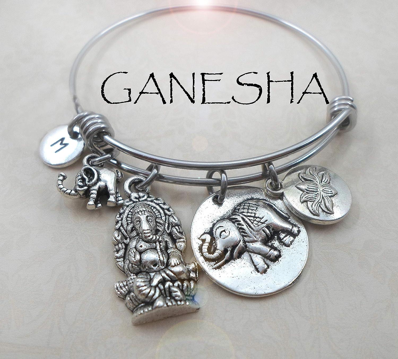 Ganesha Hindu Deity 3 Sizes Small to Large Elephant Charm Lotus Jewelry Gift Ganesh Bangle Bracelet