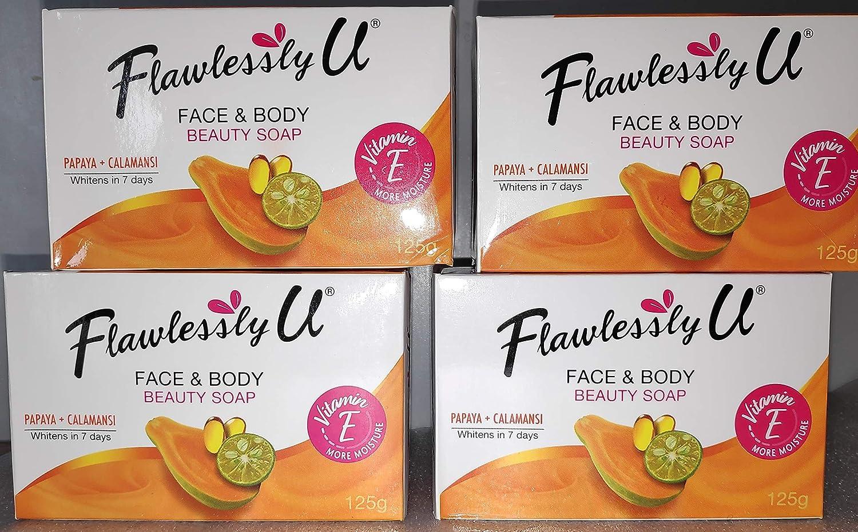 4X 2in1 Flawlessly U Whitening Bath Soap w//Papaya+Calamansi Extract 125g Each bar