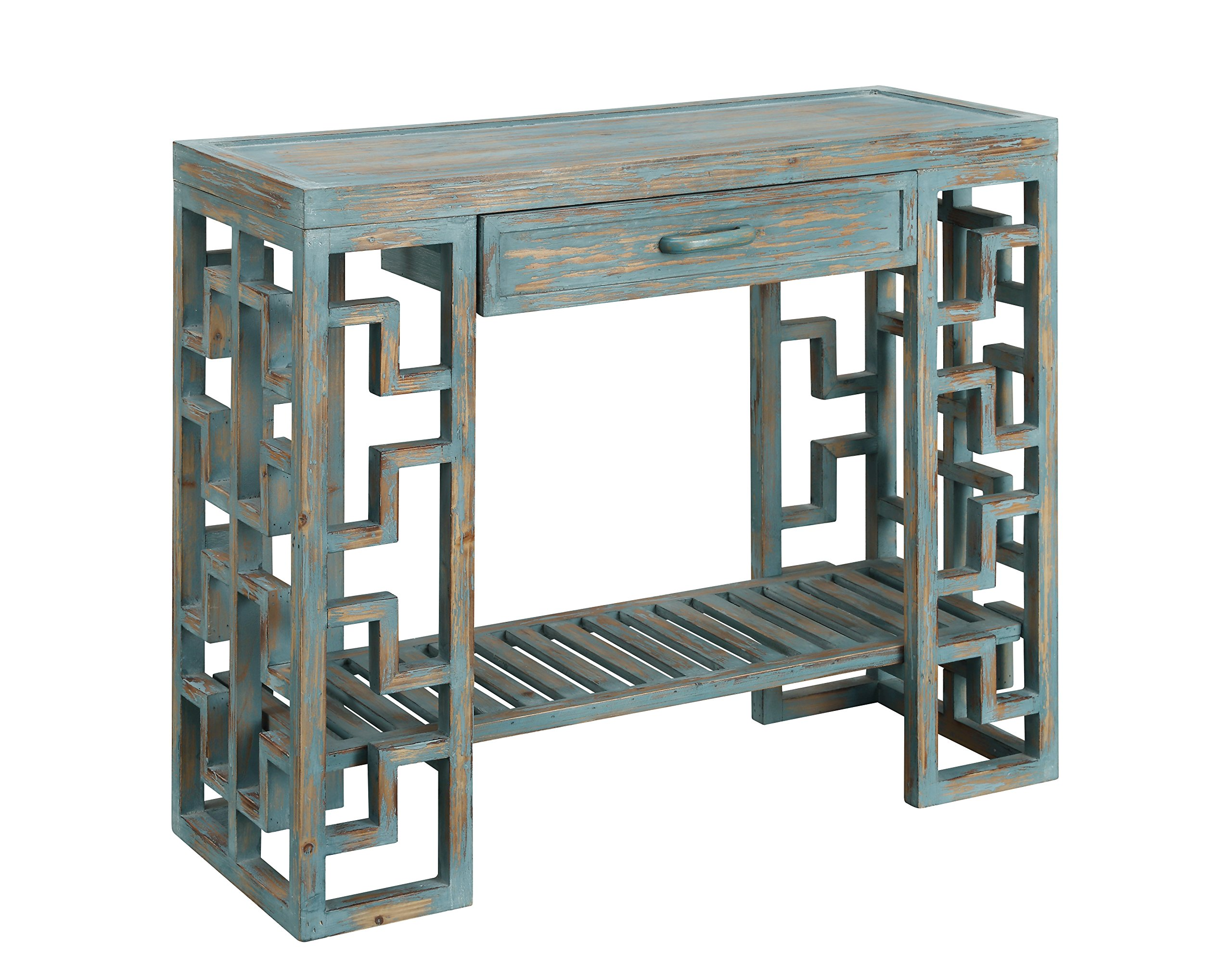 Treasure Trove One Drawer Console Table, Sage Green/Brown