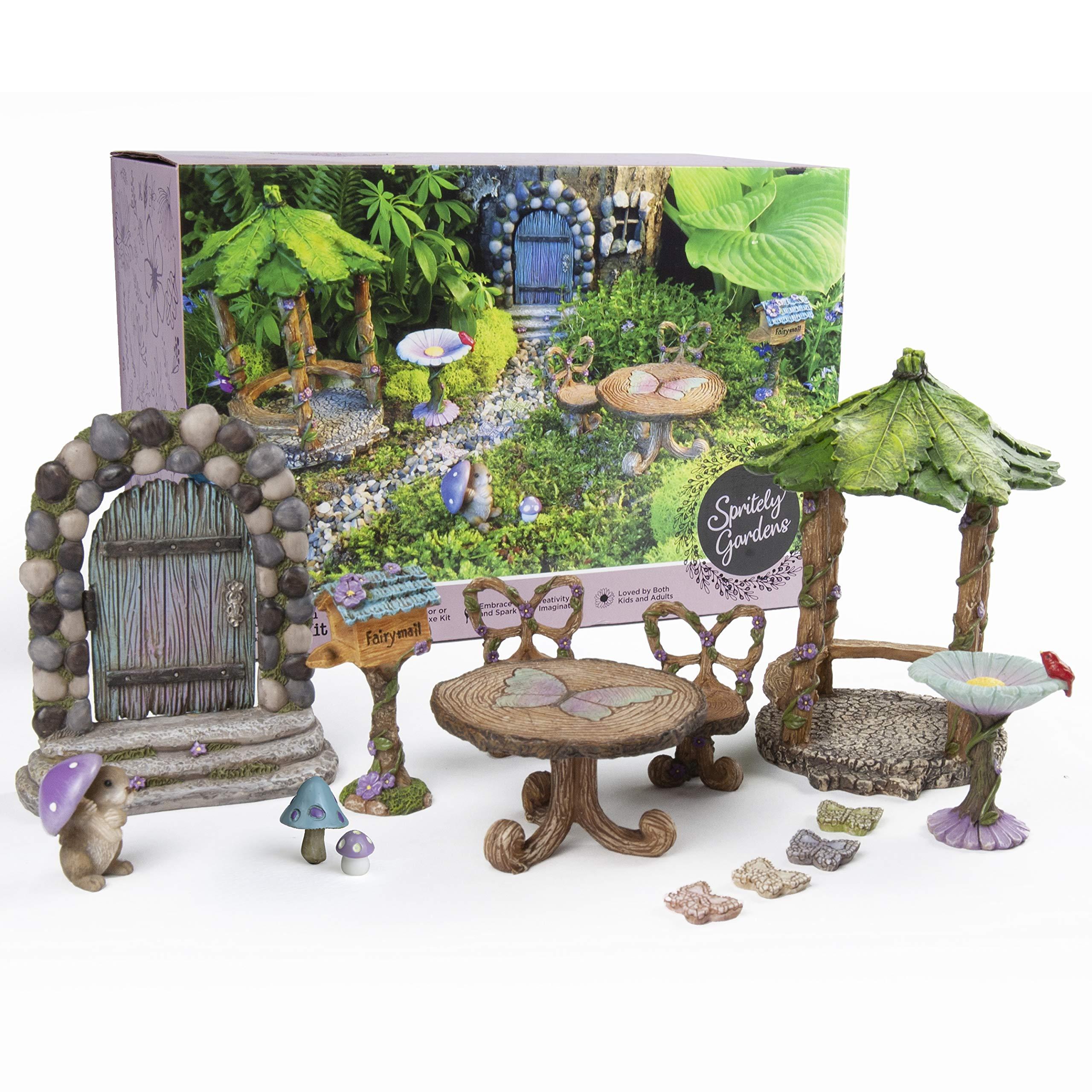 Spritely Gardens Deluxe Fairy Garden Kit with Accessories Indoor/Outdoor 14-Piece Toy Fairy Garden Miniatures - Fairy Garden Decorations Set Makes a Great Gift for Girls