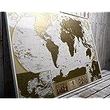 MyMap Grande mappa del mondo, edizione deluxe, con più di 10.000 città e luoghi da grattare o segnare con uno spillo