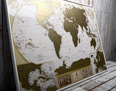 Amazoncom MyMap Deluxe Large World Scratch Off Map w EnLarge