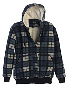 Gioberti Mens Checkered Flannel Hoodie Jacket with Sherpa Lining