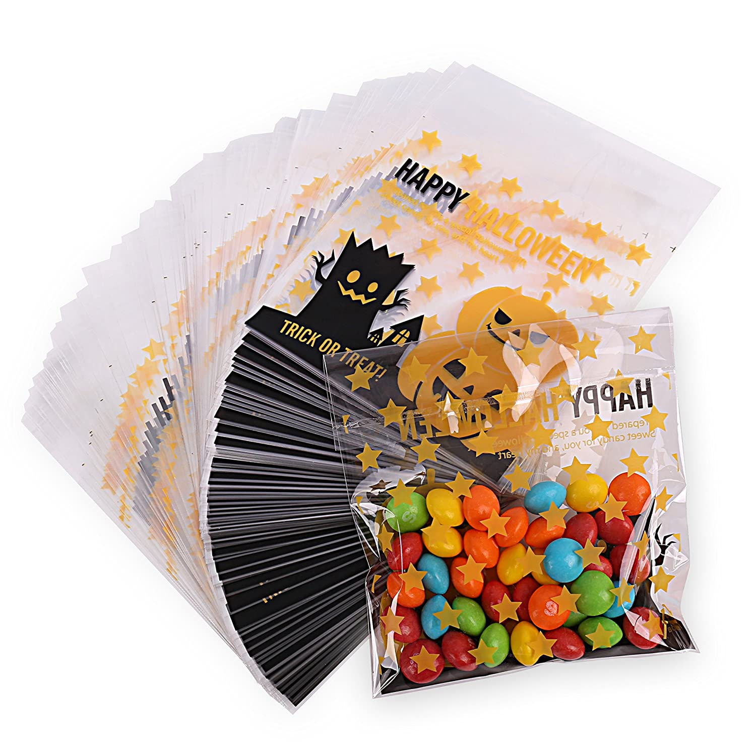 Halloween 100 Pack Jack O Lantern Trick or Treat Bags from HALOFUN, Plastic Candy Bags for Candy Cookie Cake Snacks and Party Favors (Yellow)