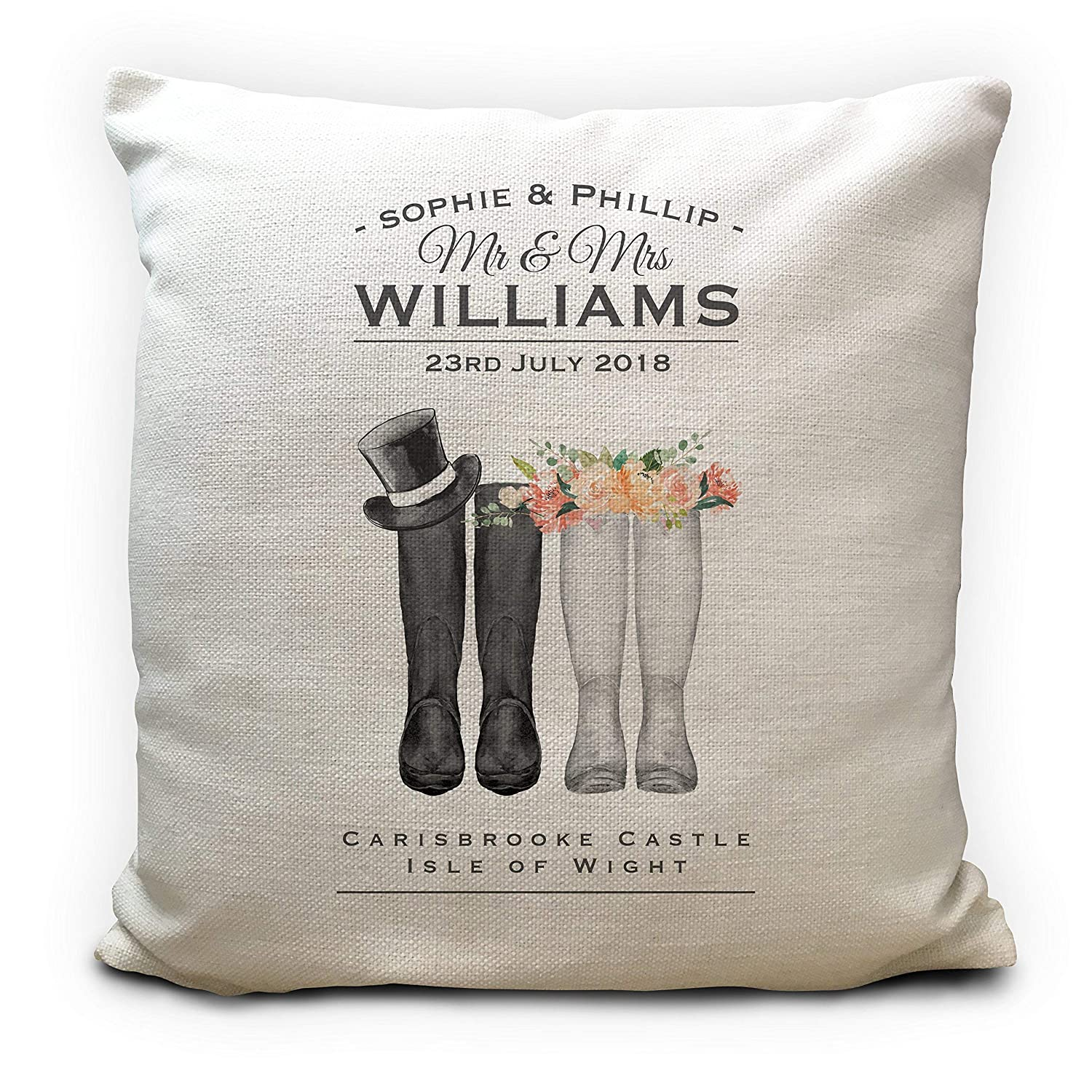 Personalised Wedding Anniversary Cushion Pillow Cover Gift Mr and Mrs Wellies 40cm 16 inch