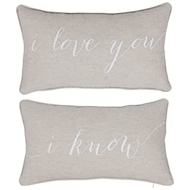 DecorHouzz I Love u I know Set of 2 Pcs Embroidered Pillow Case Pillow Cover Decorative Pillow Cushion Cover 12 x20  Couple Wedding Anniversary (Linen)