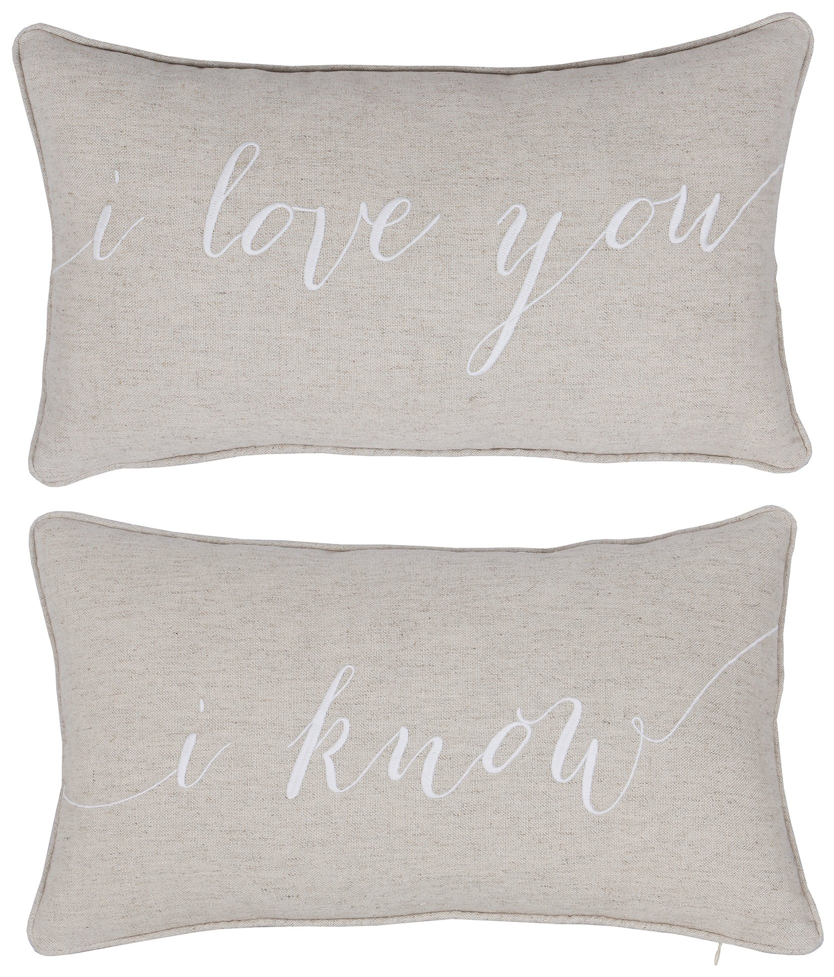 DecorHouzz I Love u I know Set of 2 Pcs Embroidered Pillow Case Pillow Cover Decorative Pillow Cushion Cover 12''x20'' Couple Wedding Anniversary (Linen)