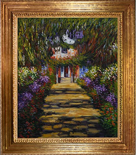 overstockArt Claude Monet Garden Path at Giverny 20-Inch by 24-Inch Framed Oil on Canvas