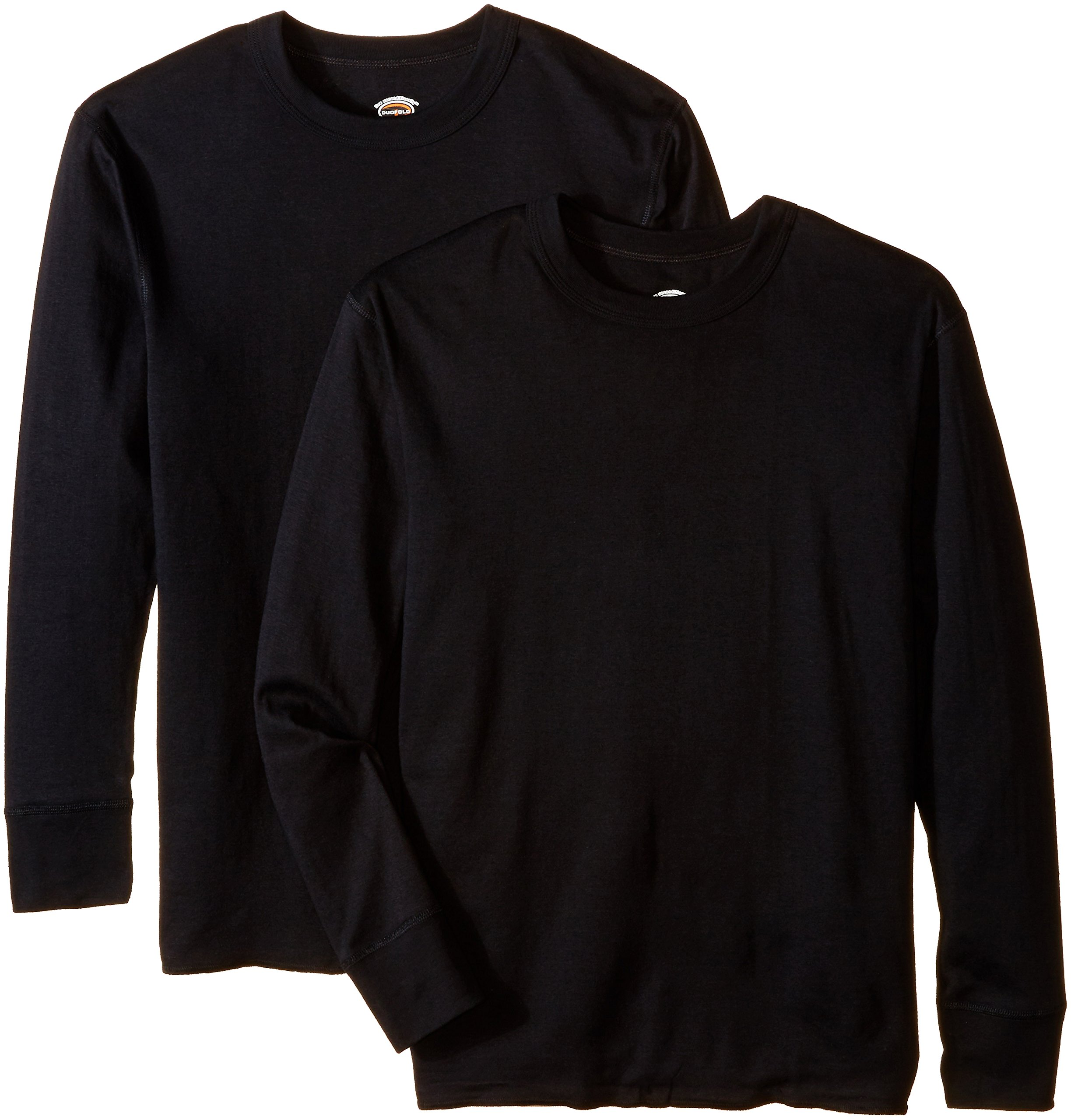 Duofold Men's Mid Weight Wicking Thermal Shirt (Pack of 2), Black, Large