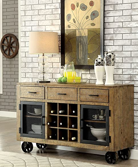 Etonnant Furniture Of America CM3829SV Gianna Rustic Pine Server Dining Room Buffet