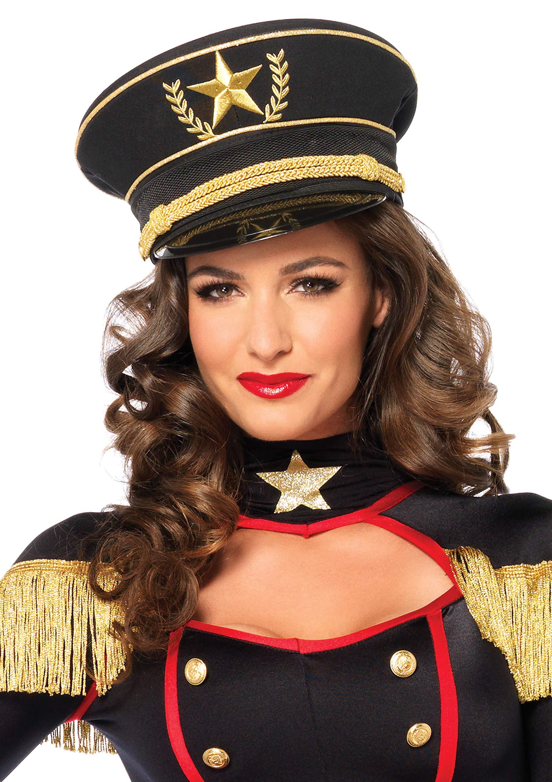 Leg Avenue Women's Military Hat Costume Accessory, Black, One Size