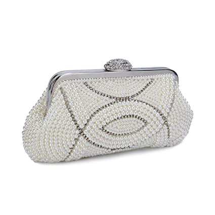 Buy Chichitop Women s Noble Crystal Pearl Evening Clutch Large Bridal Wedding  Handbags Online at Low Prices in India - Amazon.in 6b6a01d781ed
