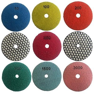 "Easy Light 4"" Dry Diamond Polishing Pads for Granite Marble Polisher (7 Pcs Set, Grit 50-3000): Automotive"
