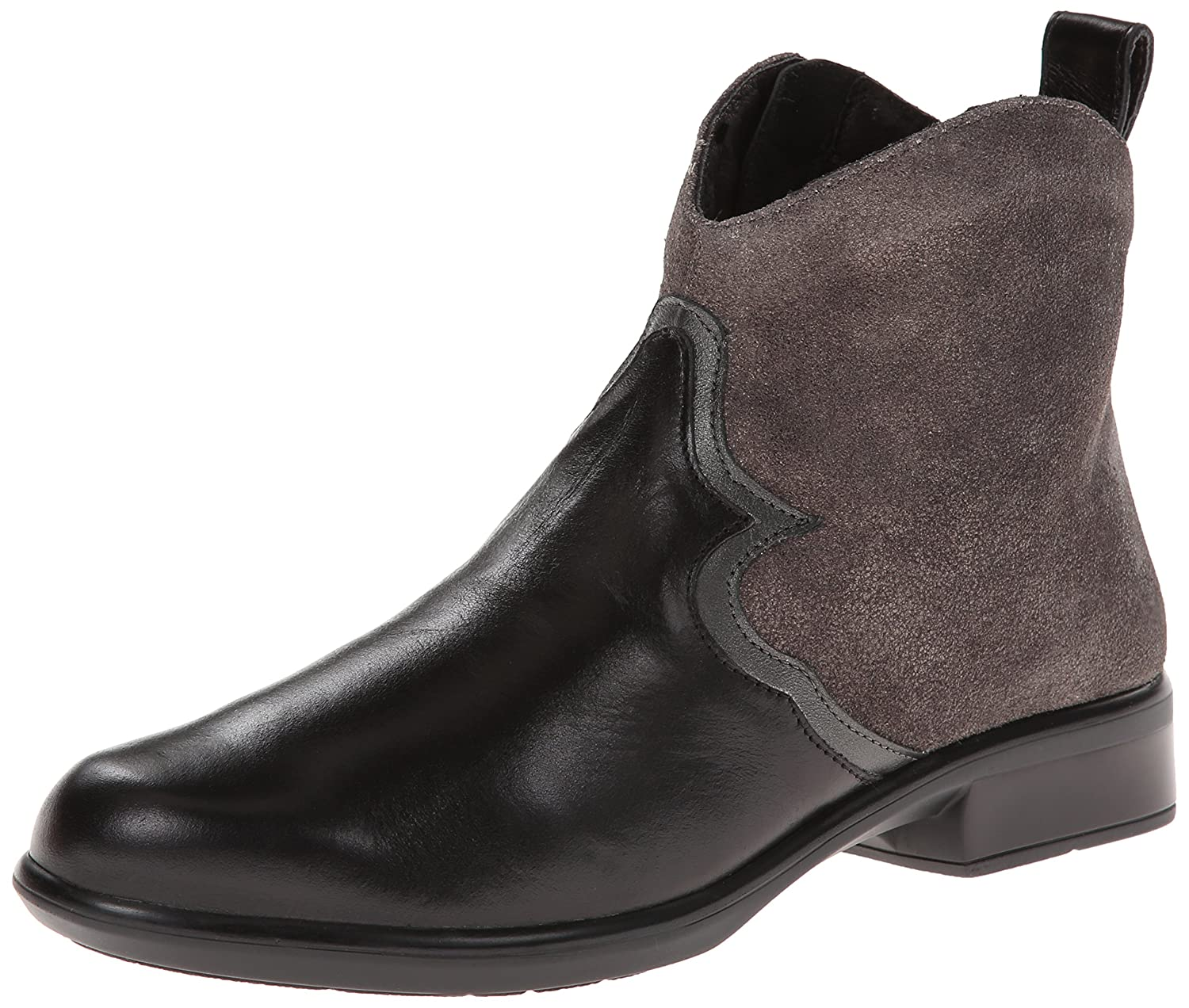 NAOT Women's Sirocco Boot B00IG9SJ3C 38 EU/6.5-7 M US|Black Leather/Gray Shimmer Leather
