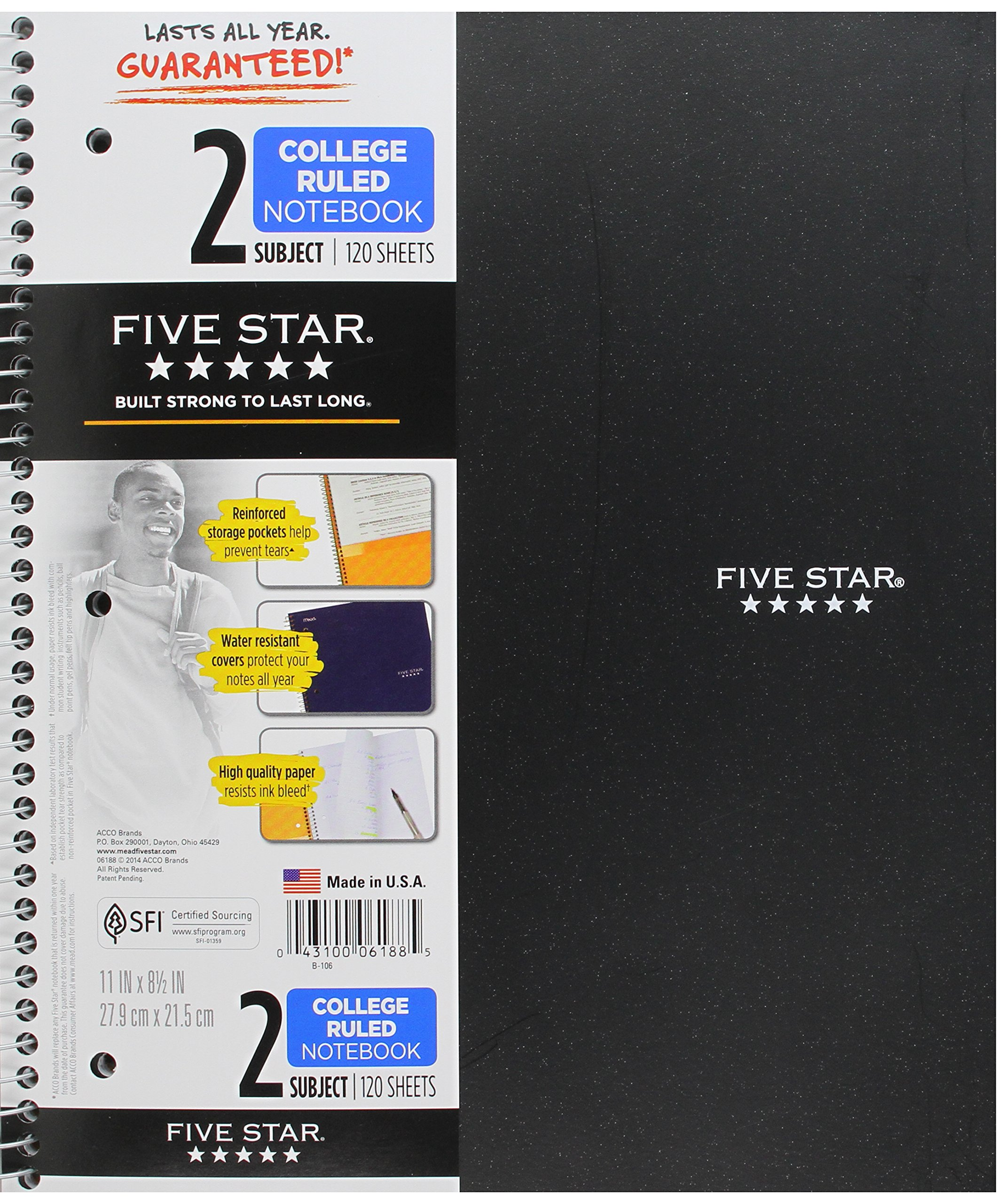 Five Star Spiral Notebook, 2 Subject, College Ruled Paper, 120 Sheets, 11'' x 8-1/2'', Black (06188)