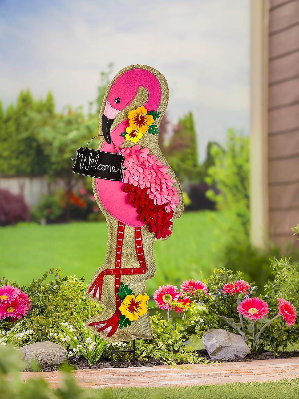 Evergreen Flamingo Outdoor Safe Fabric Garden Stake, 36 inches