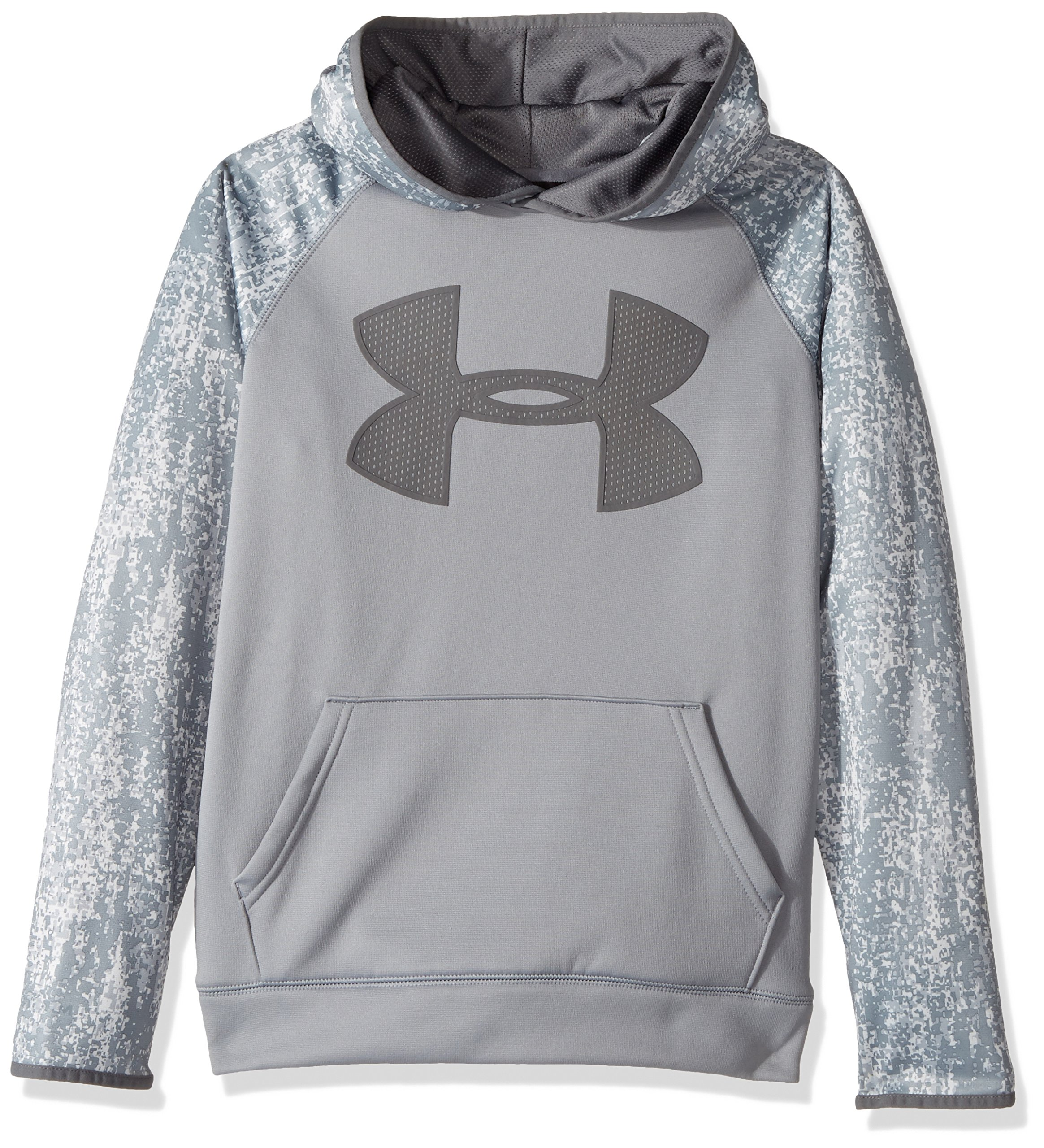 Under Armour Boys' Storm Armour Fleece Big Logo Printed Hoodie,Steel (035)/Graphite, Youth X-Small