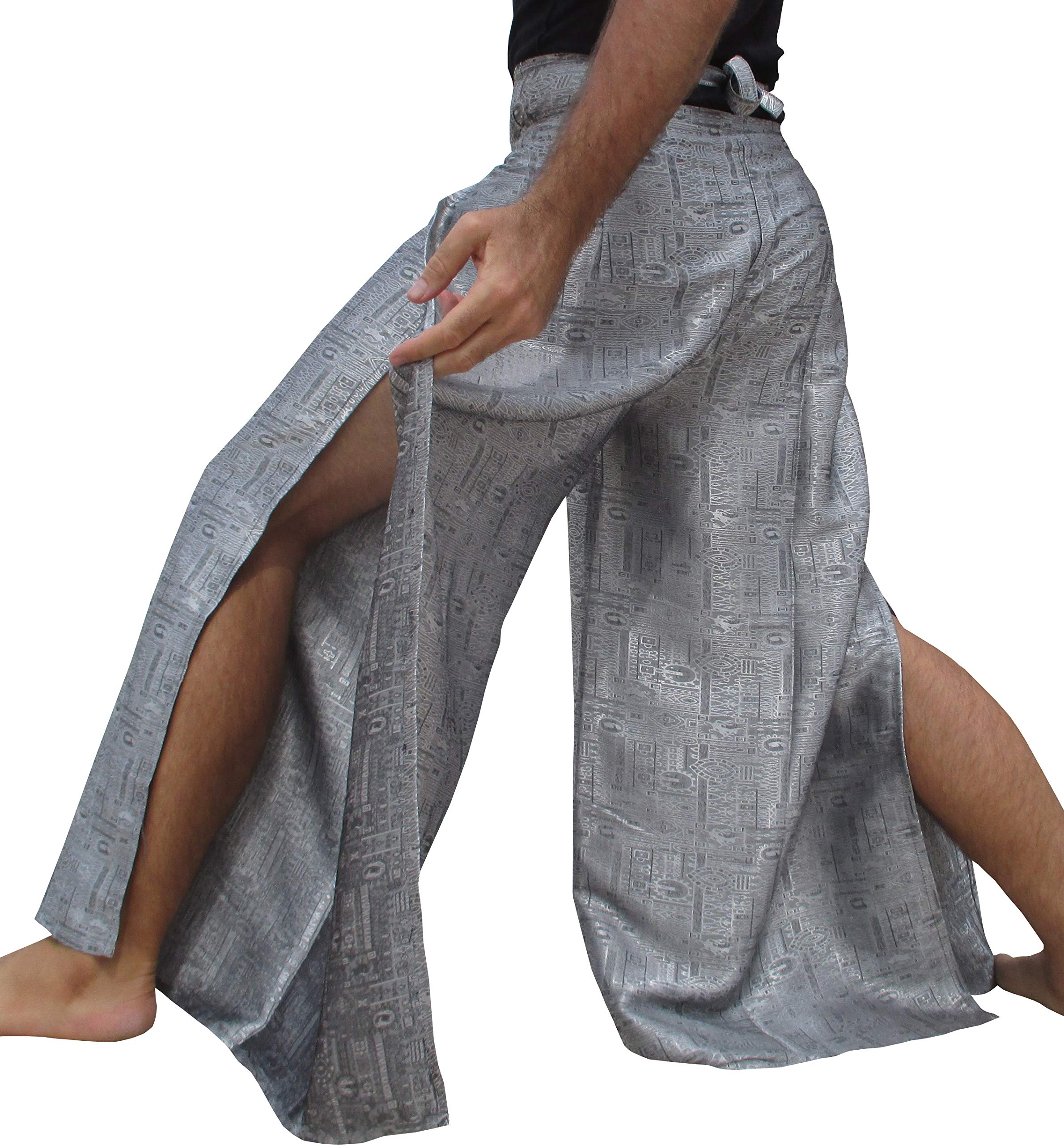 RaanPahMuang Brand Geometric Thick Textured Silk Drive in Wrap Pants, XX-Large, Light Gray by RaanPahMuang