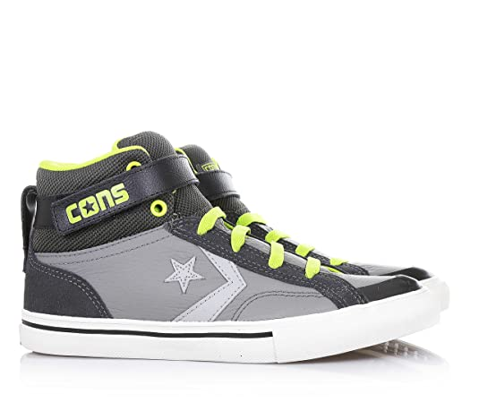 Amazon.com: CONVERSE Pro Blaze Strap Hi LEATHER FABRIC GREY LIME 655093C eu36: Shoes