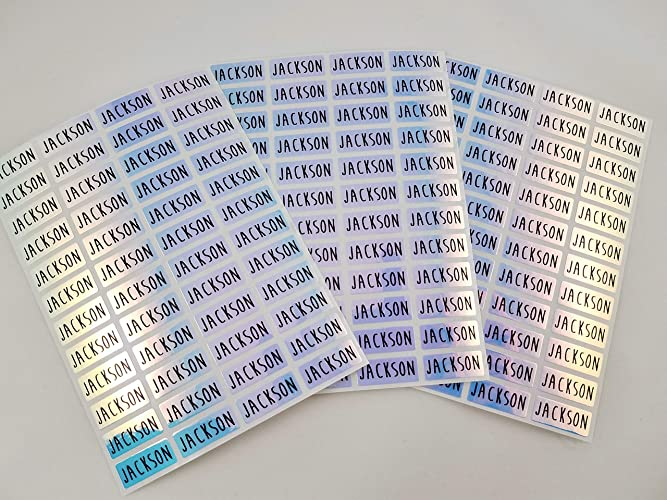 144 Blue Hologram Small Name Stickers -Daycare Labels- Kids labels- Small  Size- Customized Labels - Waterproof Labels