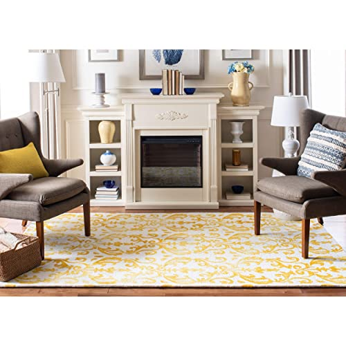 Safavieh Dip Dye Collection DDY689A Handmade Geometric Watercolor Ivory and Gold Wool Area Rug 3 x 5