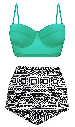 da9d49ac09 Amazon.com: UniSweet Women Vintage Polka Dot High Waisted Bikini Set Two  Piece Swimsuits (Womens Size): Clothing