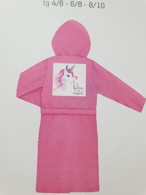 Bassetti Accappatoio con Cappuccio Unicorno da Bambina 100/% Cotone 4-6 Anni