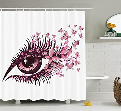 Ambesonne Pink Shower Curtain Set Butterflies Decor Female Eye With Butterfly Eyelashes Mascara Makeup Party