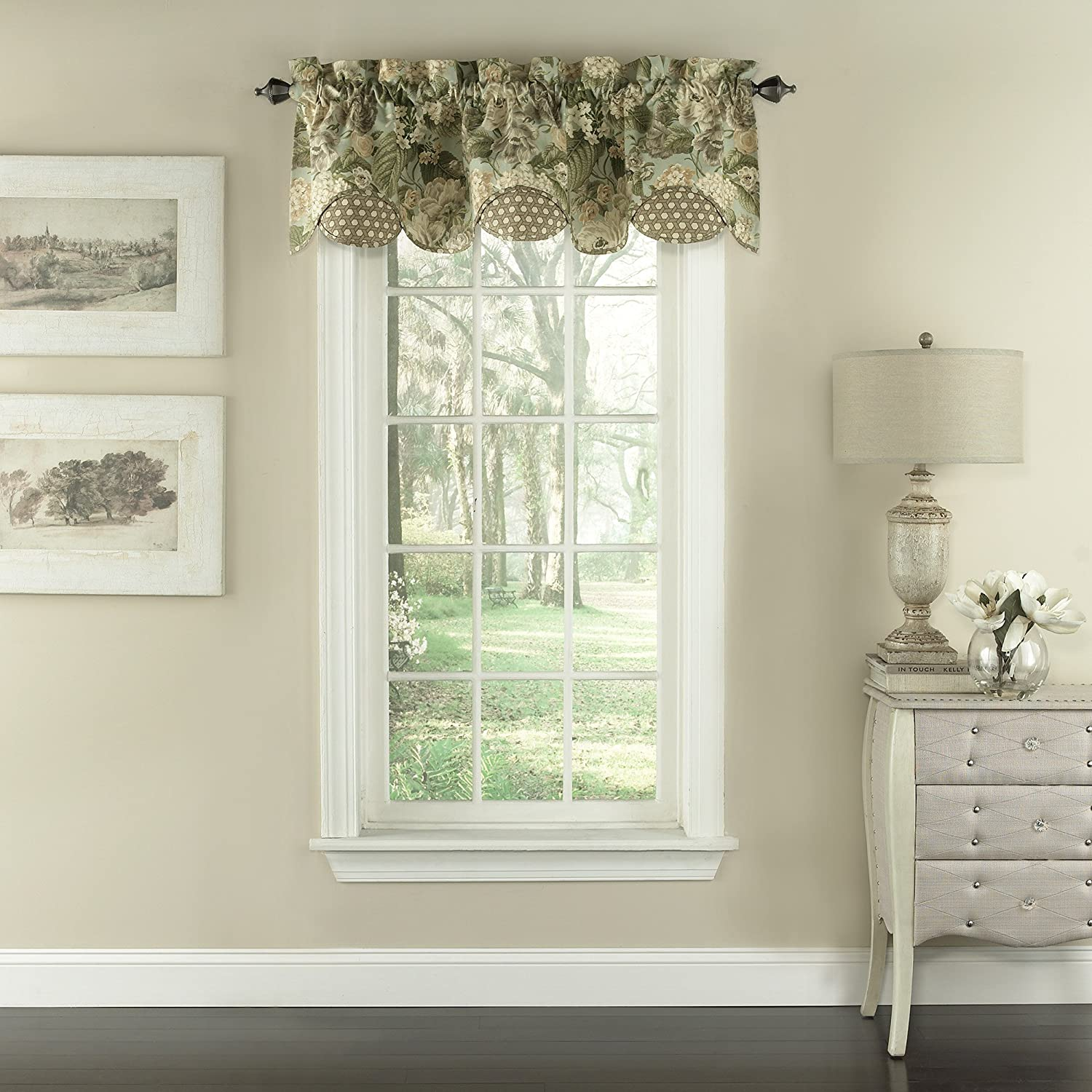 "WAVERLY Garden Glory Window Valance 16""x60"" Mist"