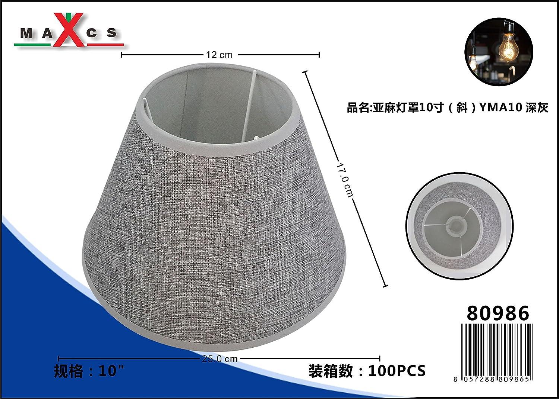Abat-jour Lin Oblique rond plastique Tissu Lin style shabby chic Abat-jour E27, Noir, 10 Zoll LinQ®