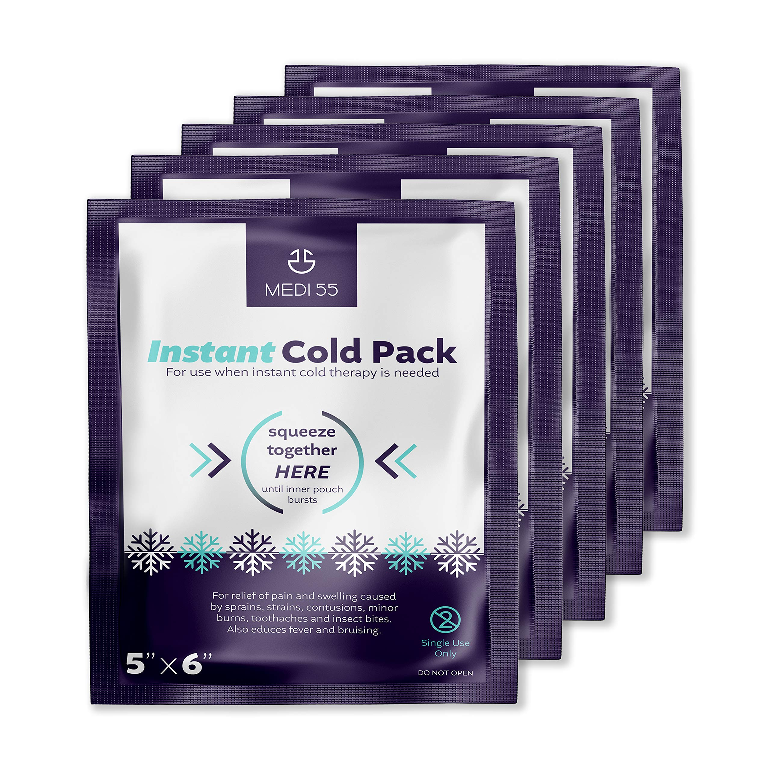 """Instant Cold Packs - Pack of 24 (5"""" x 6"""") Disposable Cold Compress Therapy Instant Ice Pack for Injuries, First Aid, Pain Relief for Tooth Aches, Swelling, Sprains, Bruises, Insect Bites"""