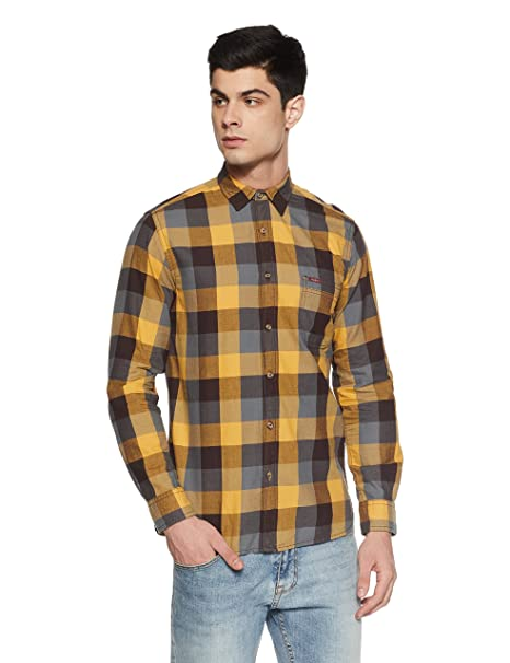 64247ca300 Pepe Jeans Men s Checkered Slim Fit Casual Shirt (PIMW200114 Gold Small)