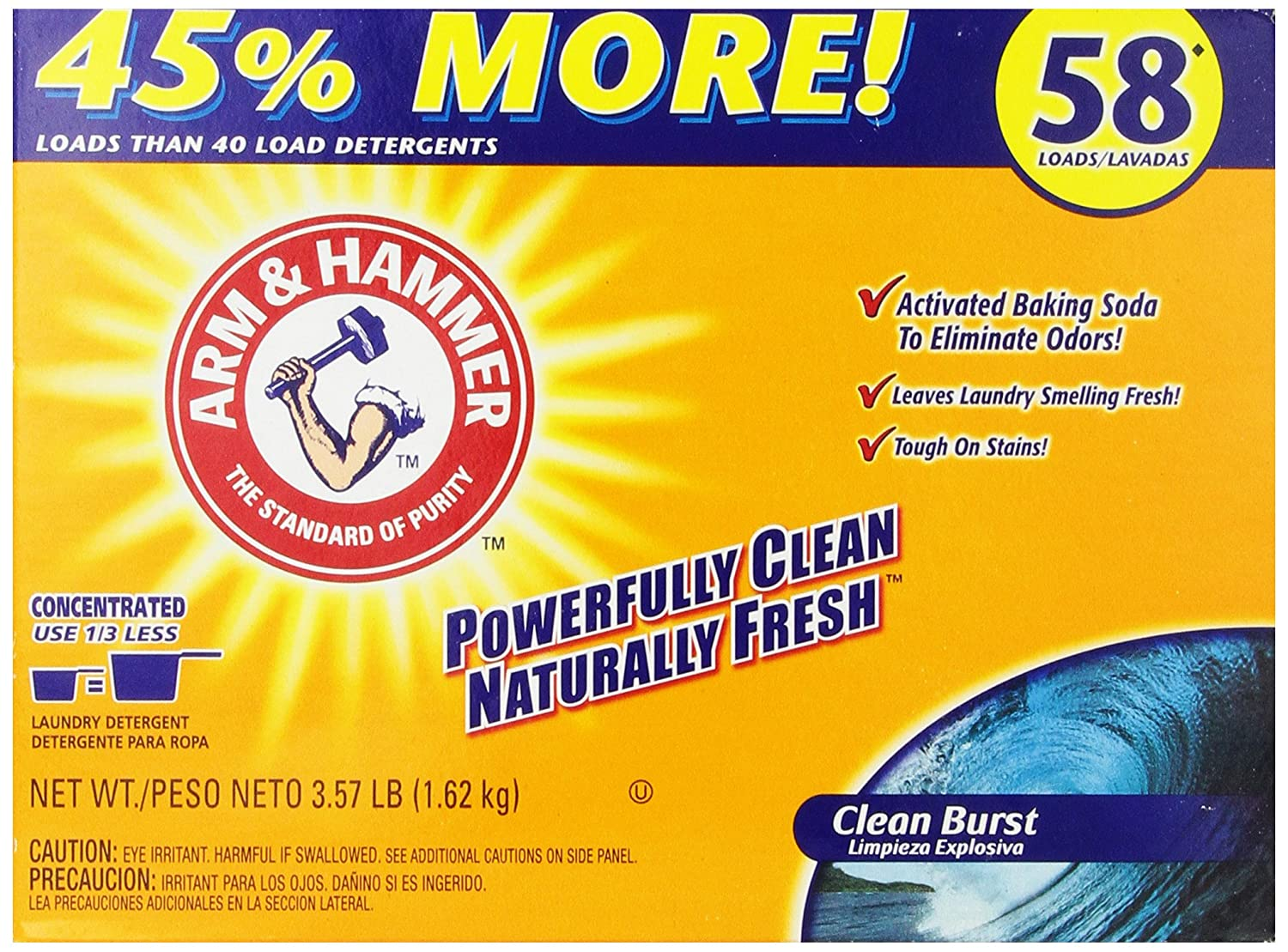 Is arm and hammer powder laundry detergent he - Amazon Com Arm Hammer Laundry Detergent Clean Burst 3 57 Lbs Health Personal Care
