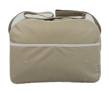 Maxi bolso para carrito de bebé en ecopiel arena y detalles en rosa
