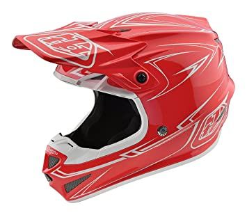 Troy Lee Designs rayas adulto SE4 Motocross casco de moto, color rojo
