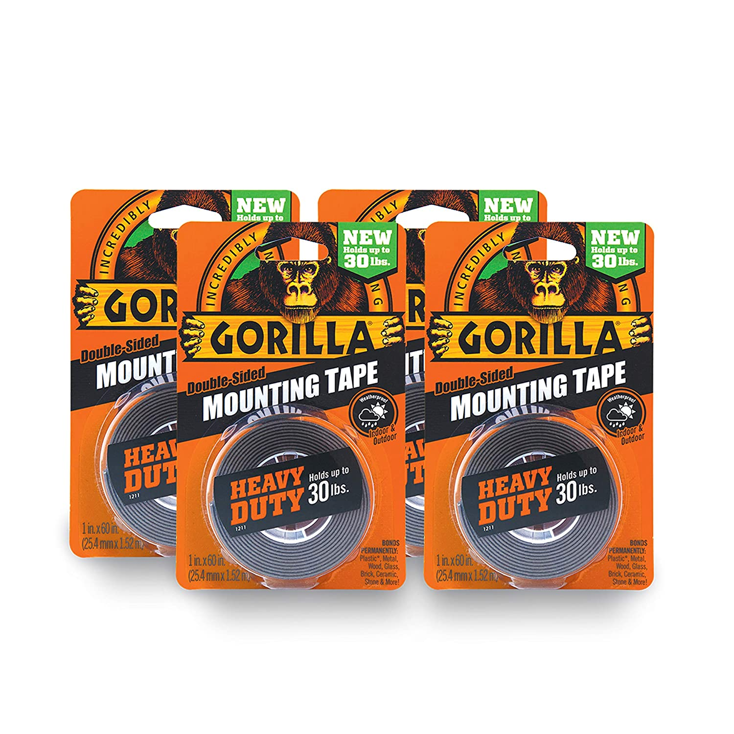 Gorilla Heavy Duty Double Sided Mounting Tape, 1 Inch x 60 Inches, Black Gorilla Glue 6055001
