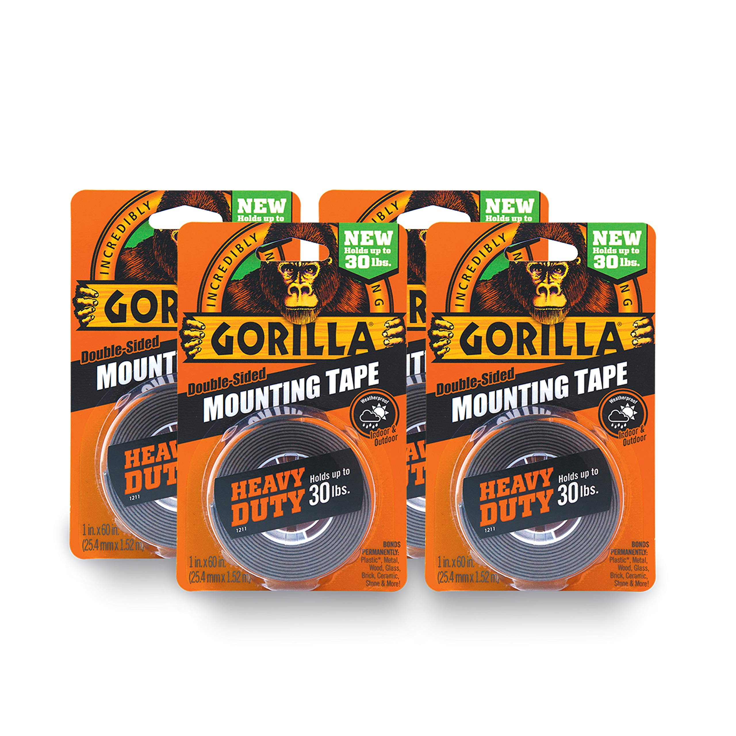 Gorilla Heavy Duty Double Sided Mounting Tape, 1 Inch x 60 Inches, Black(Pack of 4) by Gorilla