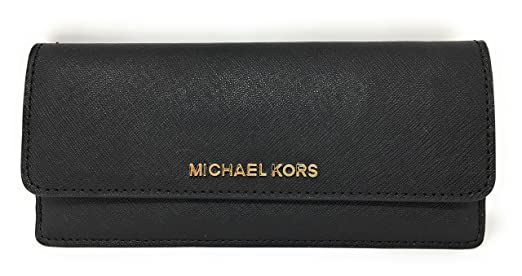 19452c21f205af Amazon.com: Michael Kors Jet Set Travel Flat Saffiano Leather Wallet (Black  with Gold Hardware): Clothing