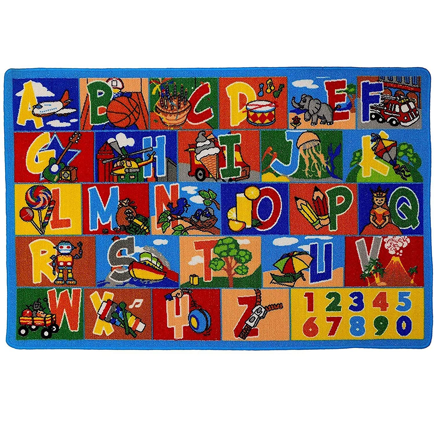 Mybecca Kids Rug ABC1-Numbers 3' x 5' Children's Area Toddler Rug - Non Skid Gel Backing (39