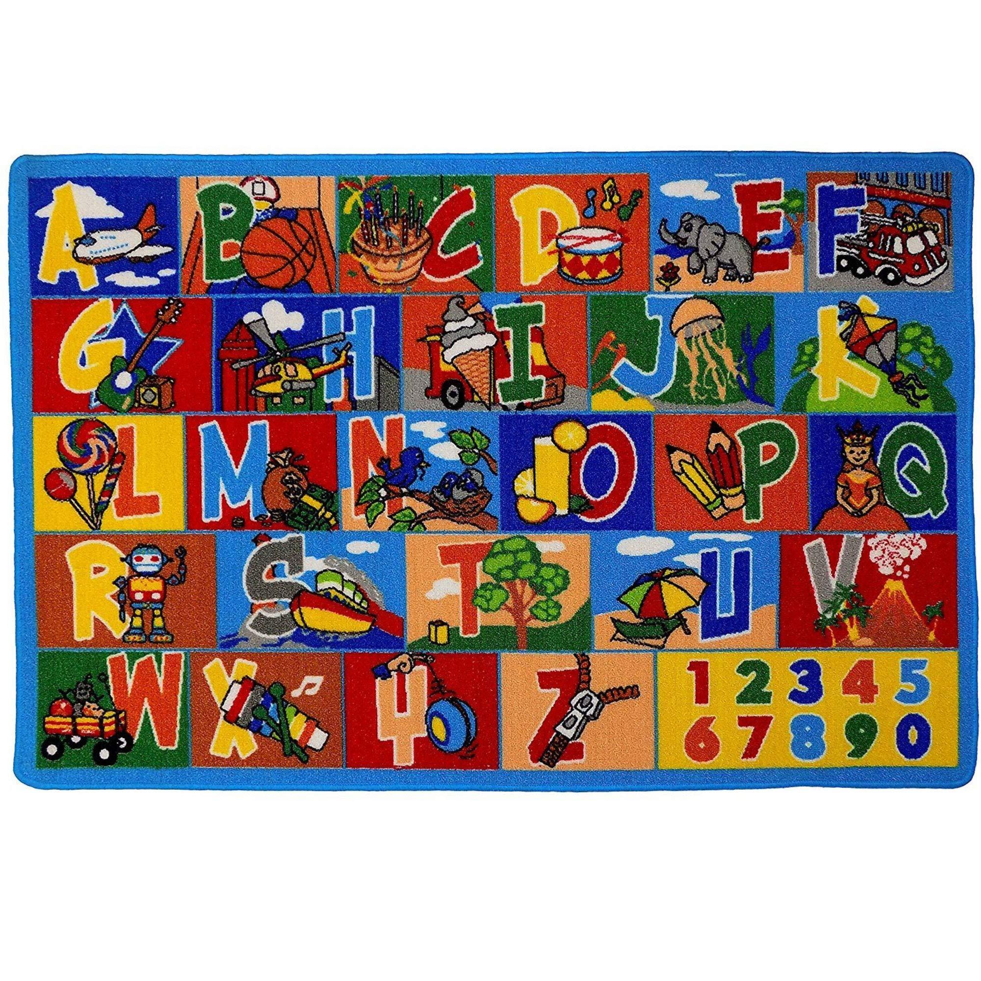 Mybecca Kids Rug ABC-1 Numbers 8 x 10 Children's Educational Learning Rug 7' feet 2'' inch 10' ft (7'2'' X 10')