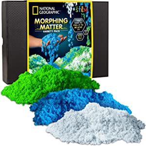 NATIONAL GEOGRAPHIC Morphing Matter Pack – Play Set Comes with 9 Cups of Morphing Matter in 3 Fun Colors, Reusable Storage Box, Great Kinetic Sensory Activity for Boys & Girls