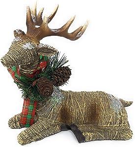 Laying Resting Christmas Brown Wicker Look Reindeer with Bow Tabletop Decor (9 in Brown Deer)