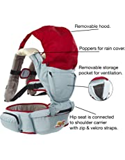 Baby Carrier + Detachable Hip Seat. WINTER OFFER. Includes full pop-on rain/snow cover, great for cold walks. Wide waist band for wearer COMFORT and SUPPORT. Detachable, dribble bibs for baby.