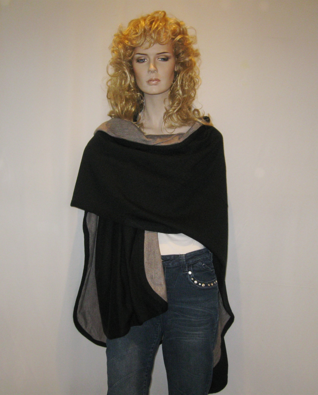 Cashmere Pashmina Group- Cape Woolen Reversible Ruana Knitted Poncho Shawl Cardigans Sweater Coat (Black/ Stone) by Cashmere Pashmina Group (Image #10)