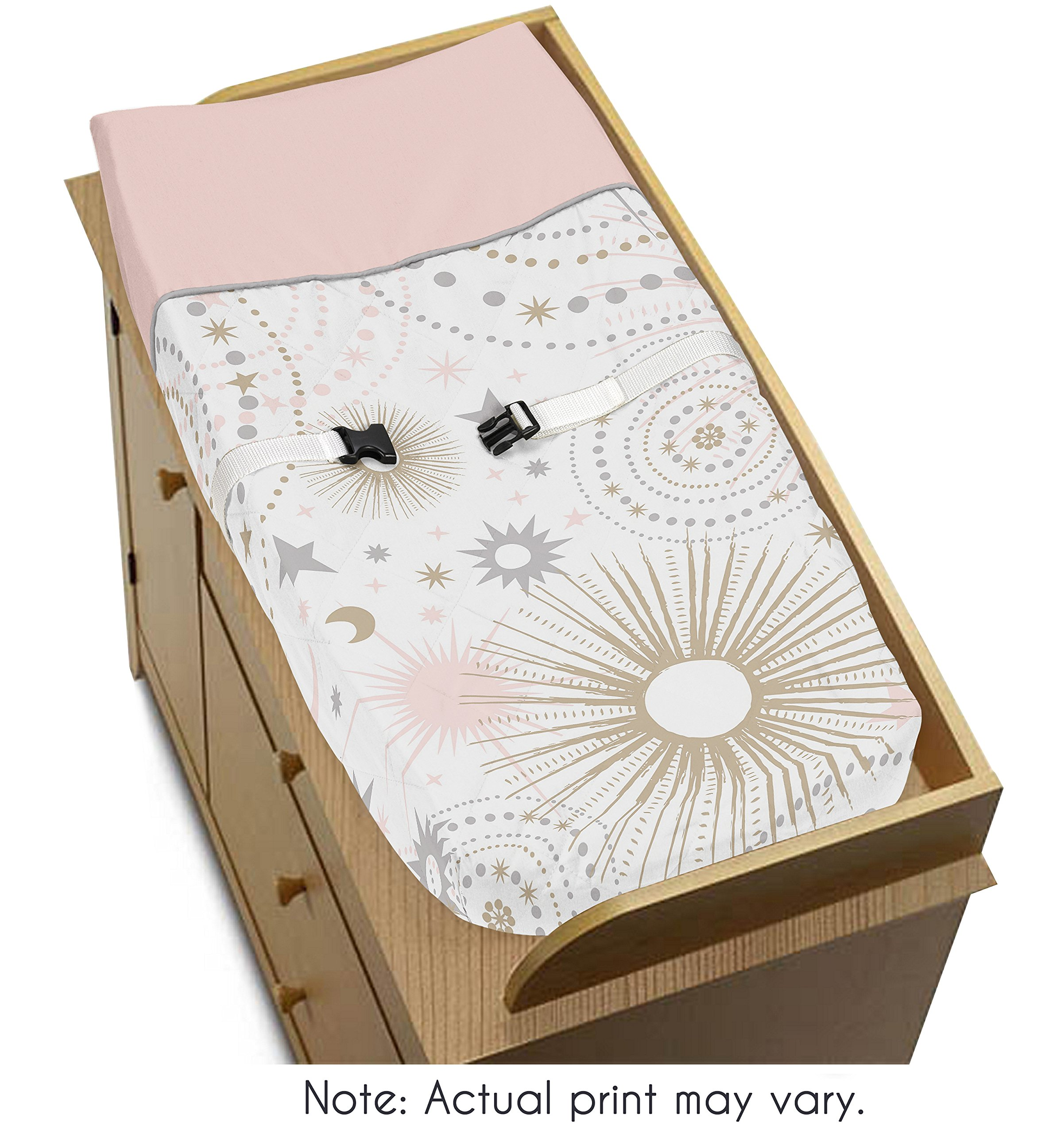 Sweet Jojo Designs Blush Pink, Gold, Grey and White Star and Moon Changing Pad Cover for Celestial Collection by by Sweet Jojo Designs