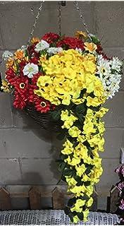 Artificial flowers hanging basket outdoor yellow light and dark artificial flowers hanging basket outdoor orange red and white xxl basket and mightylinksfo